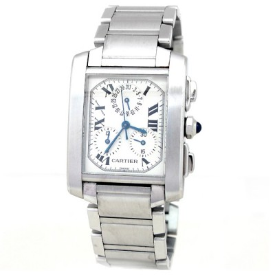 Large Cartier Stainless Steel Tank Francaise Chrono Watch