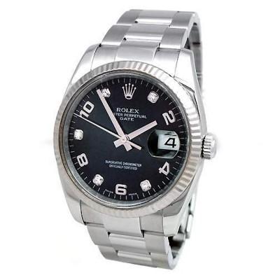 34mm Rolex Steel Date Diamond Dial 115234.