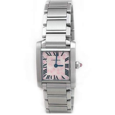 Small Cartier Stainless Steel Tank Francaise Double C W51031Q3