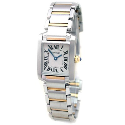 Small Cartier Two Tone Tank Francaise W51007Q4