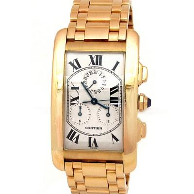 45mm Cartier 18k Gold Tank Americane Chronograph W2601156.