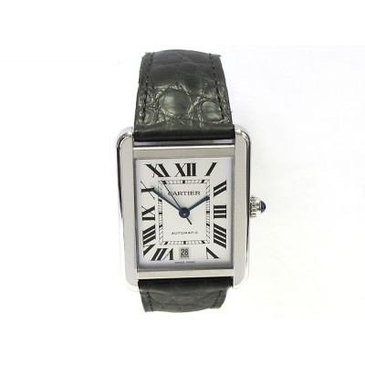 Extra Large Cartier Stainless Tank Solo Leather Strap W5200027