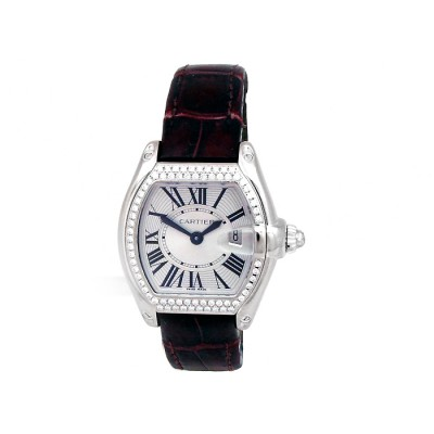 Small Cartier 18K White Gold Roadster Watch. Silver SunRay Roman Numeral Dial