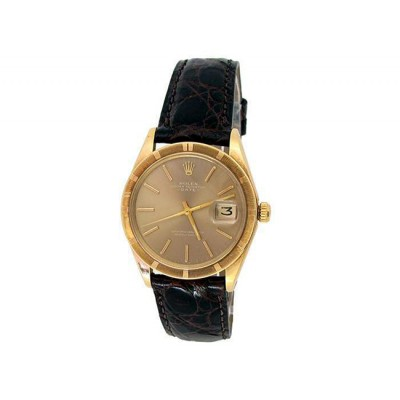 34mm Rolex 14k Yellow Gold Oyster Perpetual Date Watch
