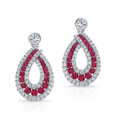 NATURAL COLOR WHITE GOLD ELEGANT RUBY TEAR DROP DIAMOND EARRINGS