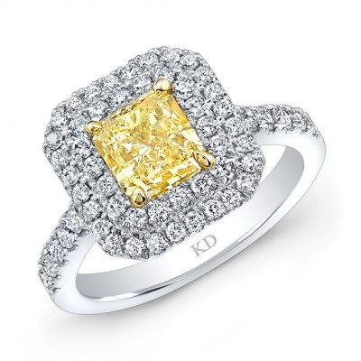 WHITE AND YELLOW GOLD FANCY YELLOW RADIANT HALO DIAMOND ENGAGEMENT RING