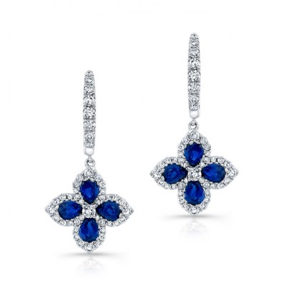 NATURAL COLOR WHITE GOLD FLOWER SAPPHIRE DROP EARRINGS