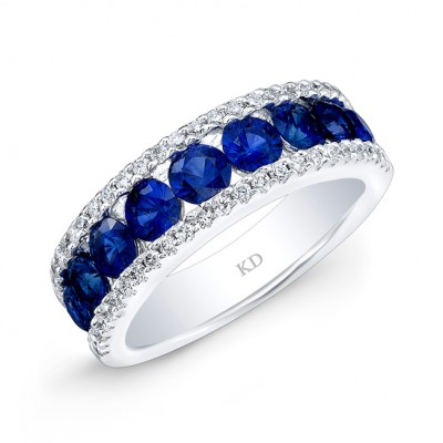 WHITE GOLD NATURAL COLOR TRENDY ROUND SAPPHIRE DIAMOND RING