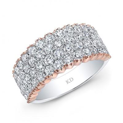 WHITE & ROSE GOLD FOUR  ROW ELEGANT DIAMOND WEDDING BAND