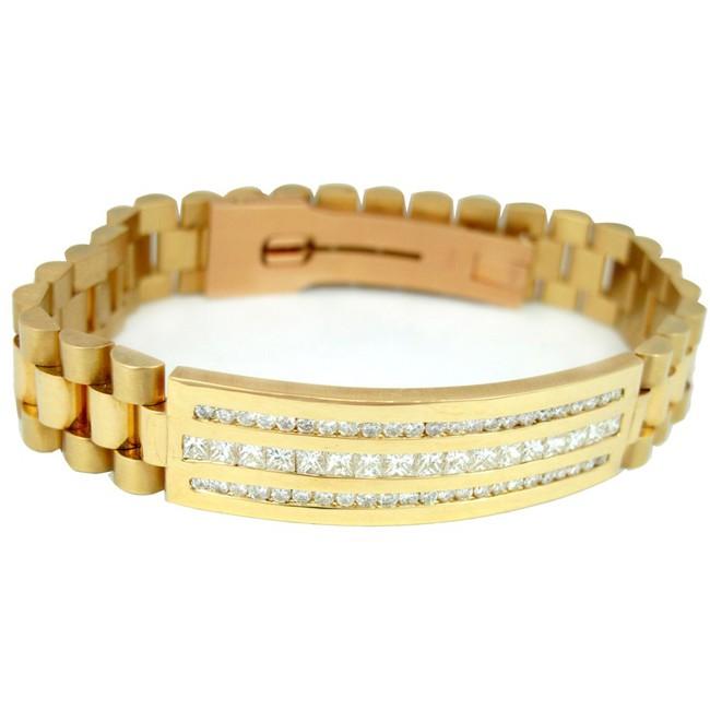 Men's 18K Yellow Gold President ID Bracelet with Round Diamonds.