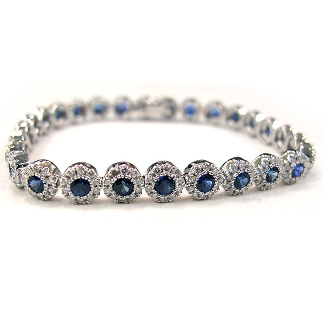 Ladies 18K White Gold Bracelet with Diamonds and Sapphire