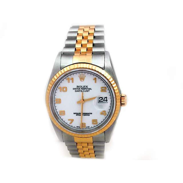 36mm Rolex Two-Tone Datejust White Arabic Dial 16233.