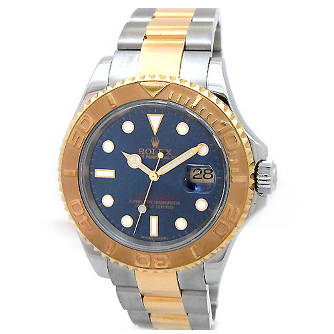 40mm Rolex Two-Tone Yachtmaster Blue Dial 16623