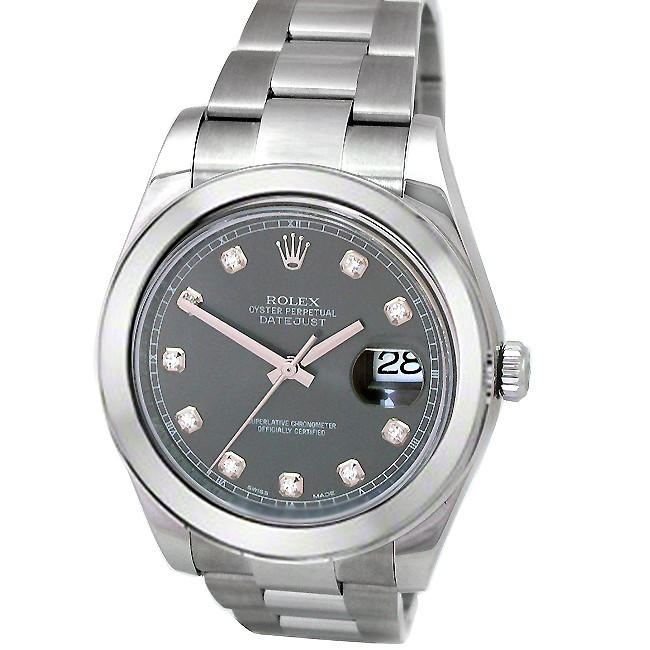 41mm Rolex Datejust II Watch  with Diamond Dial 116300.
