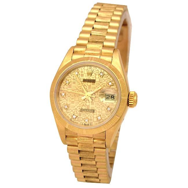 26mm Rolex 18k Yellow Gold  Bark-Finish President Datejust Champ Jub Diamond Dial 69278.