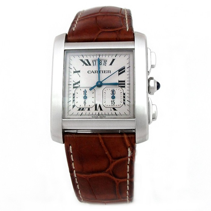 30mm X 28mm Stainless Steel Cartier Tank Francaise Chronometer Watch.