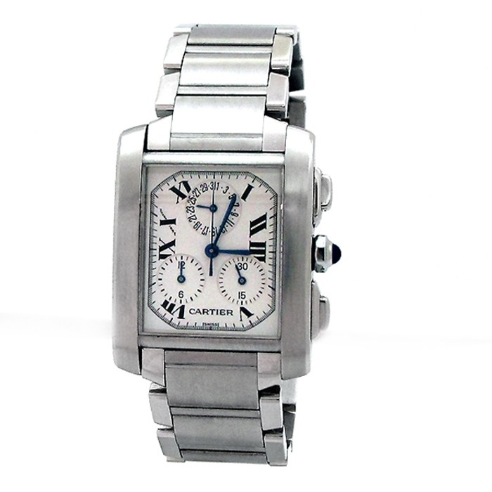 Gents Cartier Stainless Steel Tank Francaise Chrono Watch.