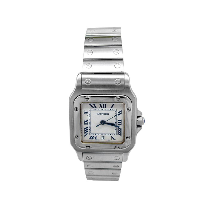 Large Cartier Stainless Steel Santos Galbee Watch