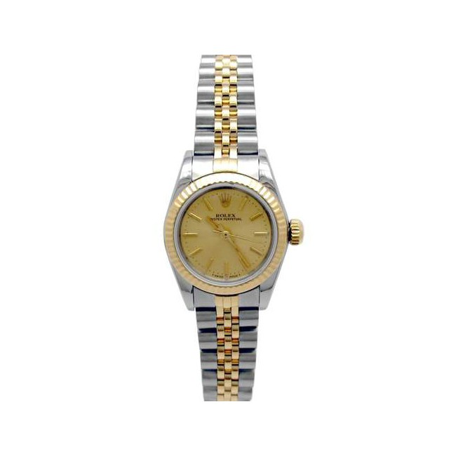 24mm Rolex 18k Yellow Gold and Stainless Steel Oyster Perpetual Watch 67193