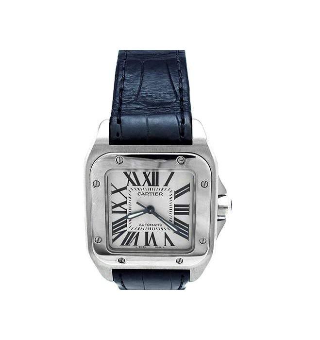 Medium Cartier Stainless Steel Santos 100 Watch W20106X8