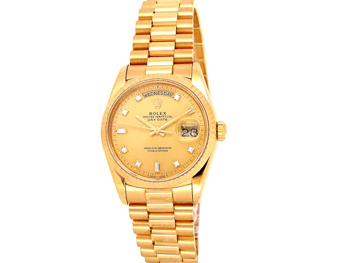 36mm Rolex 18K Yellow Gold Oyster Perpetual Daydate Watch.