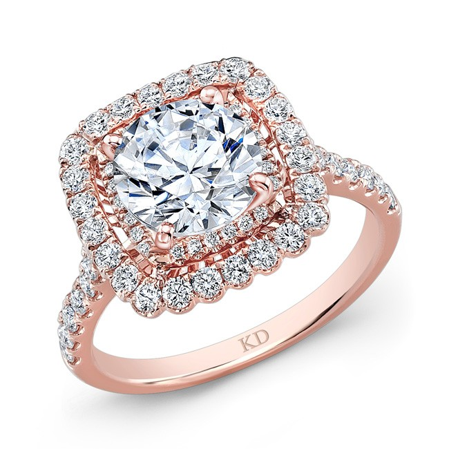 Rose Gold Square Halo Diamond Engagement Ring Rings Jewelry