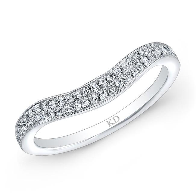 14K DUAL ROWS WHITE DIAMOND WEDDING BAND