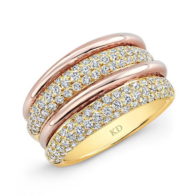 YELLOW & ROSE GOLD SIX ROW PAVE FASHION DIAMOND WEDDING BAND