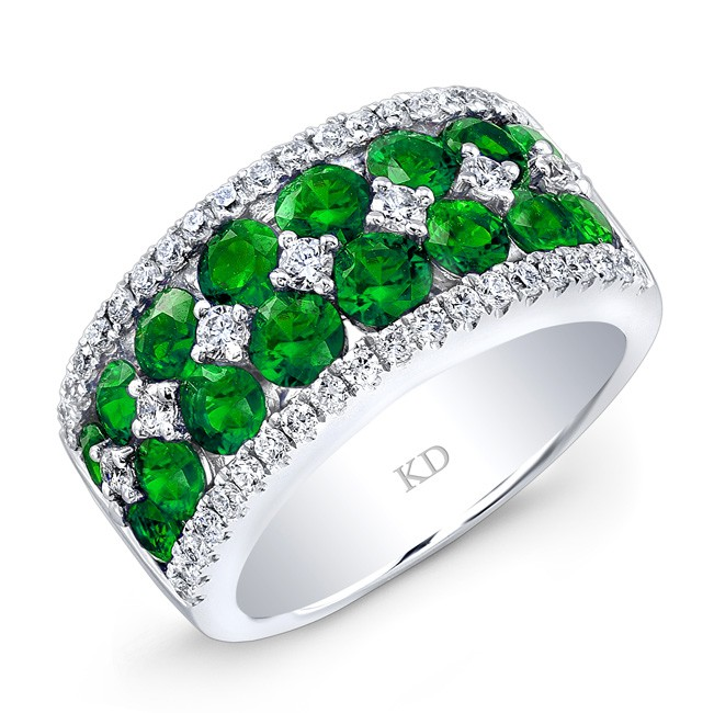 WHITE GOLD NATURAL COLOR ELEGANT EMERALD DIAMOND RING