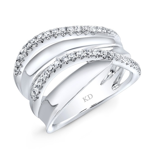 WHITE GOLD INSPIRED WAVE DIAMOND FASHION BAND