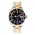 40mm Rolex Two-Tone Submariner Black 16613