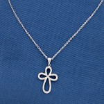 Ladies 14k White Gold Chain with Diamond Cross Pendant.