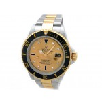 Mens Rolex Two-Tone Submariner Champagne Serti 16613