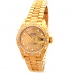 26mm Rolex 18k Yellow Gold Bark Finish President Datejust Diamond Dial 69288