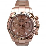 Mens Rolex 18k Rose Gold Daytona Cosmograph  Baguettes Diamond 116505