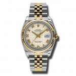 36mm Rolex Two Tone Datejust Ivory Pyramid Dial 116233