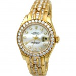 29mm Rolex 18k Gold  Pearlmaster MOP Diamonds Masterpiece Watch.