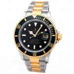 40mm Rolex Two-Tone Submariner Black 16613.