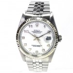 36mm Rolex Stainless Datejust White Arb Dial 16234.