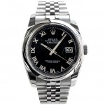 36mm Rolex Stainless Datejust Black Roman Numeral 116200.