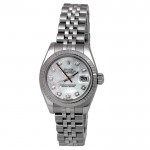 26mm Rolex Stainless Steel Datejust Watch  with Mother of Pearl and Diamond Markers 179174.