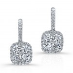 WHITE GOLD CONTEMPORARY CLUSTER DIAMOND EARRINGS