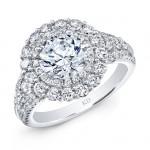 WHITE GOLD ELEGANT ROUND HALO DIAMOND ENGAGEMENT RING