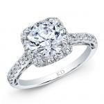 WHITE GOLD CLASSIC HALO DIAMOND ENGAGEMENT RING