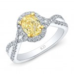 WHITE AND YELLOW GOLD TWISTED FANCY YELLOW OVAL DIAMOND HALO RING