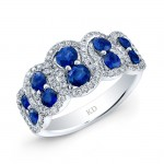 NATURAL COLOR WHITE GOLD TWISTED SAPPHIRE DIAMOND RING