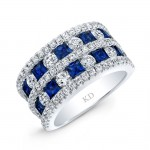 WHITE GOLD NATURAL COLOR STYLISH SAPPHIRE CHECKERS DIAMOND RING