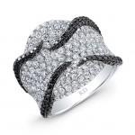 WHITE GOLD INSPIRED ELEGANT BLACK AND WHITE DIAMOND RING