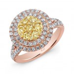 ROSE GOLD NATURAL YELLOW CONTEMPORARY CLUSTER DIAMOND RING