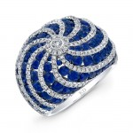 WHITE GOLD NATURAL COLOR  SWIRLED SAPPHIRE FASHION DIAMOND RING